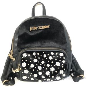 BETSY JOHNSON Mini Black Backpack Fashion Shoulder